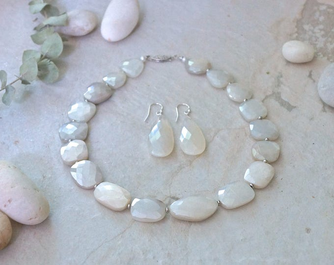 Moonstone wedding jewelry - 14k solid white gold