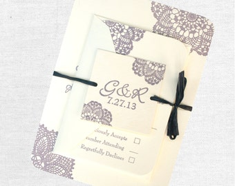 Lace Letterpress Wedding Invitation: purple, cream, lilac, or custom colors
