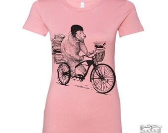Womens BOOK BEAR T Shirt -hand screen printed s m l xl xxl (+ Colors Available) custom