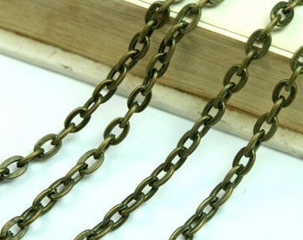 6 FT Antique Brass Flat Oval 3x5mm Cross Link Cable Chains