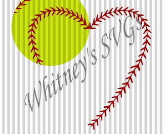Heart Softball Baseball Stitches name Frame SVG DXF Cutting File