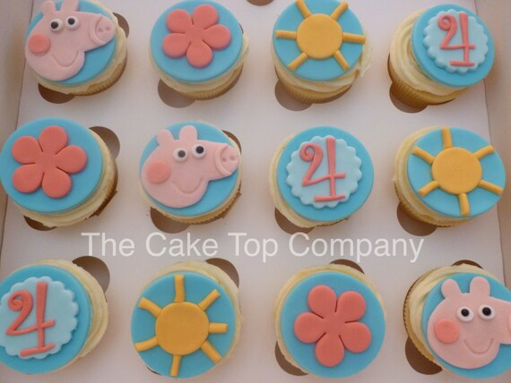 Birthday Peppa Pig Fondant Cupcake Toppers Handmade to order