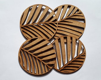 Palm leaf wood coaster - set of four (4) round lasercut wooden drink coasters, housewarming gift