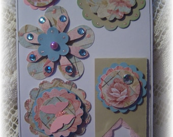 Beige,Blue,Pink Layered Scrapbook ,Journal,Handmade Card embellioshment