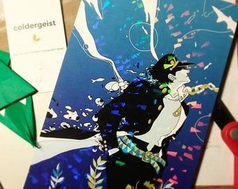 "HOLOGRAPHIC 5.5""x8.5"" print - JJBA Aquarium Jotaro Kujo Jojo's Bizarre Adventure"