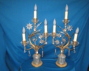 Vintage Spectacular Pair of Cast Brass Lamps with Crystal Prism Stars and Spikes