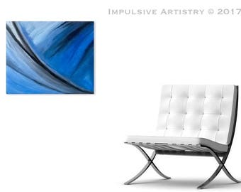 Wave - Acrylic Abstract Painting - Art/Decor - Blue, Black, White, Grey.