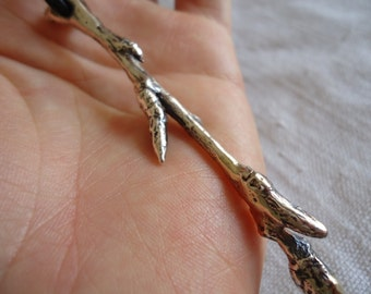Sprout n 1, silver jewel, lost wax casting