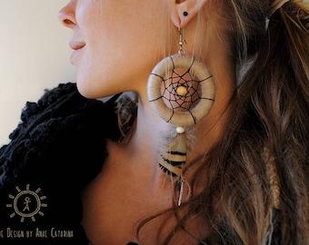 """Earrings """"Autumn Daydream"""" // Hoop earrings, Bohemian, Dreamcatcher"""