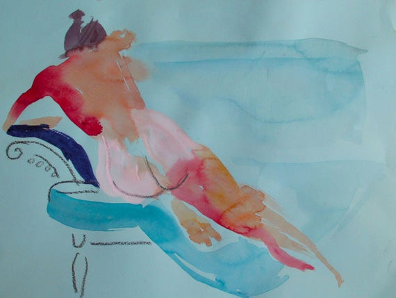 Nude painting- Original watercolor painting of Nude #1376 by Gretchen Kelly