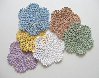 Beach Decor Crocheted Coasters Doilies Drink Coasters  Cottage Decor Pastel Spring Decorations Country Decor Hostess Gift Housewarming Gift