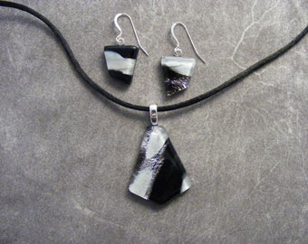 Black and White on Silver Dichroic Pendant & Earring Set 1