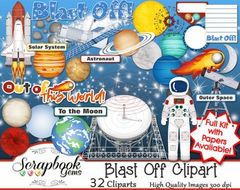 BLAST OFF Clipart, 32 png Clipart files Instant Download moon telescope lovell astronaut night sky space shuttle rocket planets sun compass