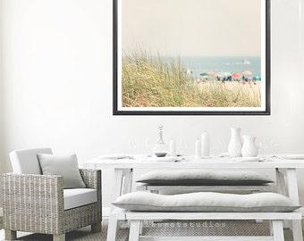 beach house decor, beach umbrella print, beach photography, ocean print, ocean decor, ocean print, ocean art, colorful beach photo
