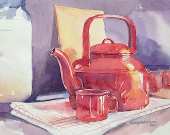 Shiny Red Teapot Original Watercolor