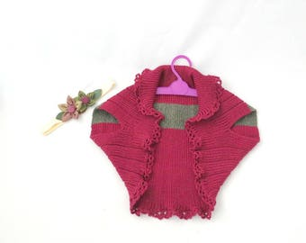 Girls shrug and headband for special occasion, Girls knit shrugs,Flower girl shrug, Shrugs sweater for Toddler, Bolero for girls, Cover up