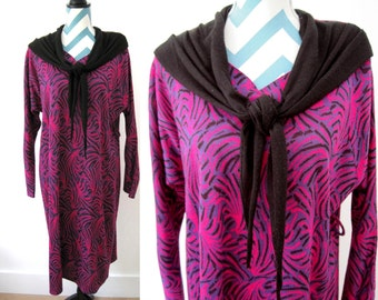 Vintage Knit Dress with Shawl Collar - 1980s - Hot Pink, Purple, Black - Long Sleeve - Large