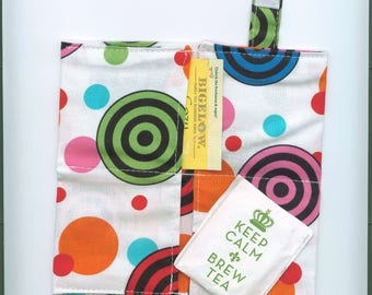 Tea Bag Wallet, BRIGHT CIRCLES, Four Pockets,Handmade,Fabric FREe Shipping USa, Holds Tea & Sweetener - Also Travel Jewelry Wallet