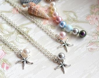 Bridesmaid gift set of 6 Starfish necklace set of 6 six Bridesmaid proposal Bridesmaid necklace Bridesmaid Jewelry Starfish Beach necklace