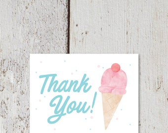 "Ice Cream Thank You Card  |  Blank Interior  |  Printable Digital Download  |  5.5x4.25"" A2"