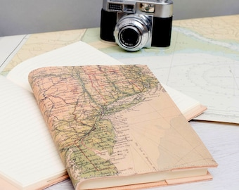 Refillable Vintage Map Leather Journal