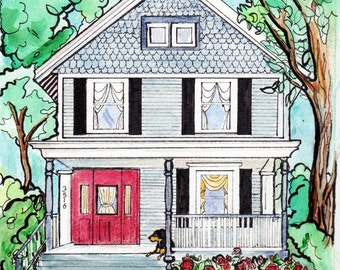 """Custom Home Portrait, 11"""" x 14"""", with Pets, by me, Artist Robin Zebley, Great Christmas Gift Idea Gift Certificate"""
