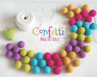 Confetti Felt Balls  - 100% Wool Felt Balls - 50 Wool Felt Balls -2cm Felt Balls - Party Felt Balls - Happy Colors - Party Felt Ball Garland