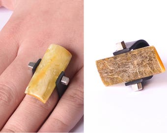 Baltic Amber Ring gift, yellow green, amber ring, genuine amber bead, adjustable ring, anillo ámbar, 琥珀戒指, 琥珀色のリン