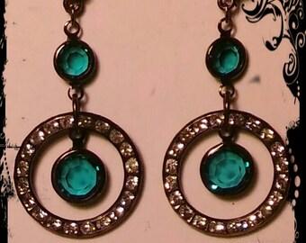 Vintage Gunmetal Crystal Station Earrings-Blue Zircon