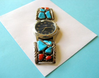Vintage Zuni Sterling Turquoise and Red Coral Watch Tips