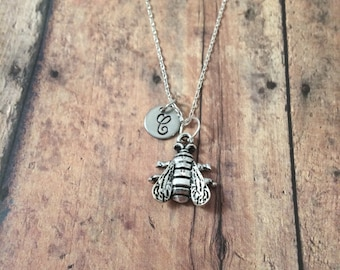 Housefly initial necklace - fly jewelry, insect charms, bug necklace, nature jewelry, entomology jewelry, housefly necklace, bug jewelry