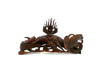 MAGNIFICENT Vintage 1930s 40s Hand Carved Wood Two Dragons seeking Pearl of Wisdom SCULPTURE