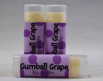 Gumball Grape - Lip Balm- Grape Lip Balm - Natural - Organic - Flavored Lip Balm - Bath and Beauty