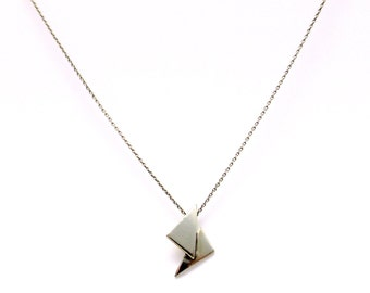 Double Triangle Silver pendant , handmade geometric necklace