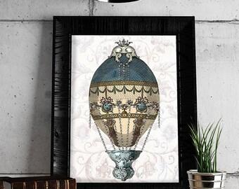 Hot air balloon décor - Baroque Balloon Blue & Cream - Hot air balloon print home decor wall decor Hot air balloon wall art bedroom décor