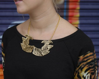 Dolphin Japanese Necklace. Kinshachi Statement Necklace. Gold Mythical Protector Necklace. Gold Bib Necklace. Laser Cut acrylic. plexiglas.