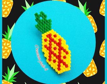 Pineapple in Brick Stitch - Mini Hama beads brooch