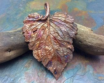 HUGE! Unbe-Leafable Artisan Copper PMC  Leaf Pendant