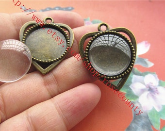 wholesale 10 sets antiqued bronze 18mm(cabochon size) heart bezel trays pendant findings with clear glass cabs