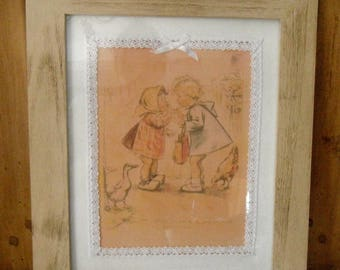 Distressed frame color clay - 30s girl illustration