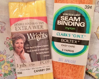 Vintage notions, seam binding, bias tape, summer colors, yellow, orange, Wrights, Clarks, bolted, unopened