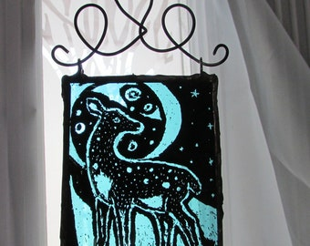 Deer Fawn Suncatcher Gift Hanging Blue Stained Glass Painted Full Moon Fawn Deer At Night Indoor Window Charm Home Decor