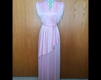 70s Lori Deb Mauve Disco Gown W/Sash - Wedding, Cocktail Glam - S