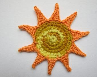 """1pc  5"""" Crochet SUN Applique"""
