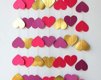 Valentine Garland, Valentine day decor, Love garland, Heart garland, Gold pink purple garland, Wedding garland, Bridal shower, KMCO-3501