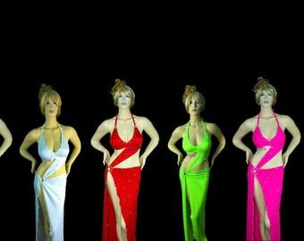 Exotic Dancewear Stripper ASYMMETRICAL sparkle floor length dress.