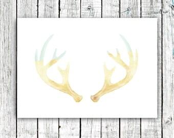 Nursery Printable, Antlers, Gold and Mint, Tribal Art, Modern, Deer, Art Print, Instant Download, Size 5x7 #384