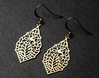 Lacy leaf earrings. Indian earrings. Gold leaf earrings.