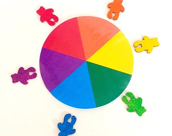 Colour Matching Wheel & Wooden Rainbow Teddy Bears, Teaching Aid, Classroom Resource, Montessori Educational Activity