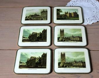 Vintage  English College Coasters  -Laminated
